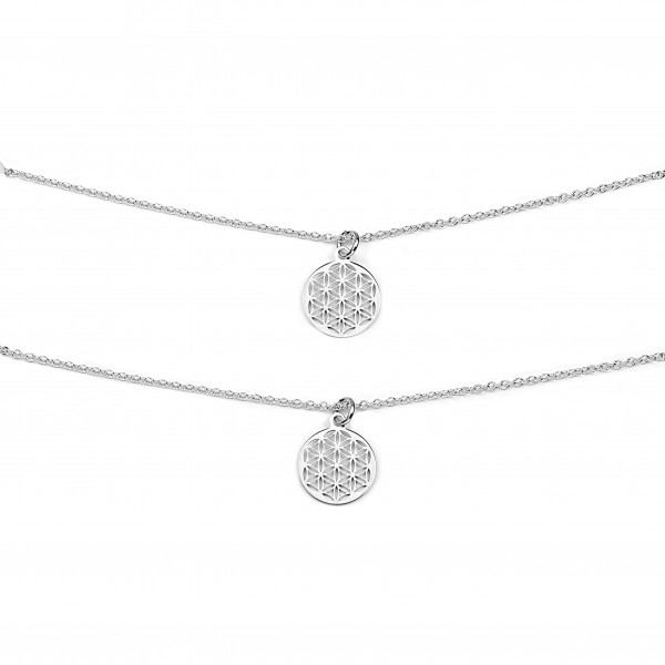 Mutter Tochter Lebensblume Halsketten Set 925 Silber ø 12 mm | Schmuck Blume des Lebens