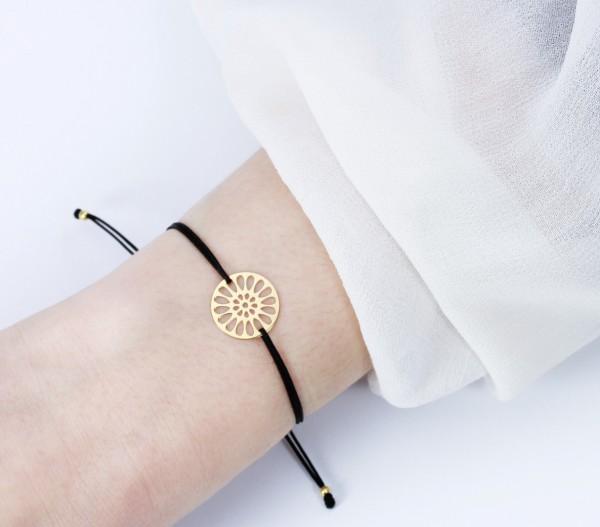 Armband Mandala Blume Symbol Gold-Schwarz 925 Silber vergoldet |Schmuck Freundschaftsarmband