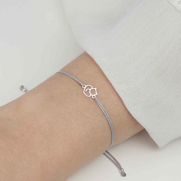 Armband Katze Herz 925 Silber Hellgrau | Schmuck Kater Kätzchen Katzenanhänger