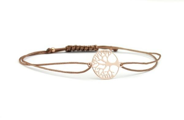 Textilarmband Lebensbaum 925 Silber rosevergoldet Rosegold-Taupe | Armband Baum des Lebens