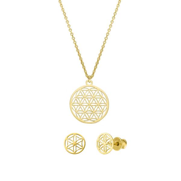 Schmuckset Blume des Lebens Halskette Ohrstecker 925 Silber vergoldet | Lebensblume Schmuck Set