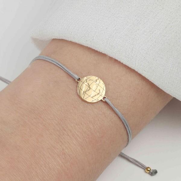 Armband Weltkarte 925 Silber vergoldet Hellgrau-Gold | Armband Welt Globus Weltkugel