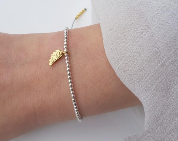 Kugelarmband Engelsflügel 925 Silber teils vergoldet Hellgrau | Armband Kügelchen Flügel Symbol