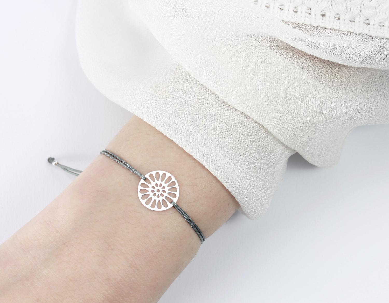 60% Freigabe heiß-verkaufendes echtes exquisites Design Armband Mandala Blume Silber-Dunkelgrau 925 Silber | Schmuck Textilarmband