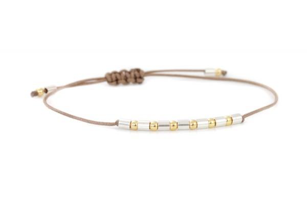 Kugelarmband 925 Silber teils vergoldet | Textilarmband verstellbar - auch für schmale Gelenke