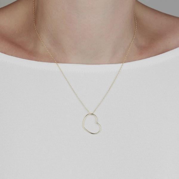 Halskette Herz Anhänger 925 Silber vergoldet
