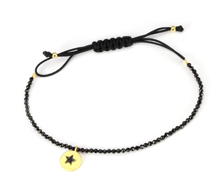 Damen Halbedelstein Spinell Armband | 925 Silber vergoldet | Sternanhänger Geschenkidee Freundin