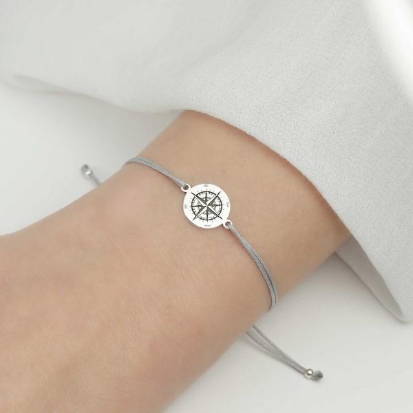 Armband Kompass 925 Silber | Windrose Himmelsrichtungen