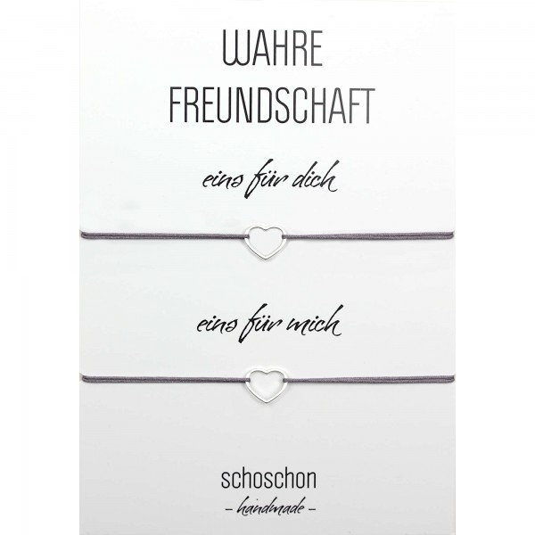 Freundinnen / Mutter Tochter Armband Set Herz 925 Silber - Dunkelgrau | Beste Freundin BFF Schmuck