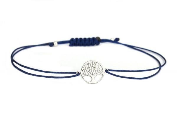 Armband Weltenbaum Lebensbaum 925 Silber Dunkelblau-Silber | Baum des Lebens Freundschaftsarmband
