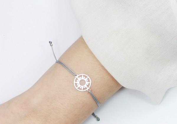 Armband Sonne 925 Silber - Grau | Individualisierbar Freundschaftsarmband