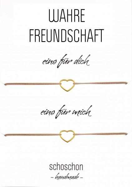 Freundinnen / Mutter Tochter Armband Set Herz 925 Silber vergoldet Taupe | Beste Freundin Schmuck