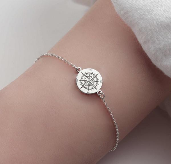 Armband Kompass 925 Silber | Armkette Windrose Himmelsrichtungen Schmuck