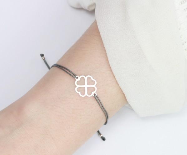 Textil-Armband Kleeblatt 925 Silber, Silber-Dunkelgrau | Schmuck Glücksbringer