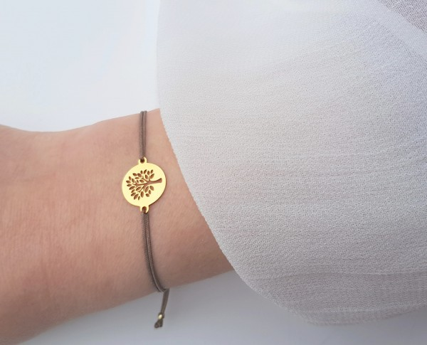 Baum des Lebens Armband 925 Silber vergoldet Gold-Taupe | Textil Armband Symbol Tree of life
