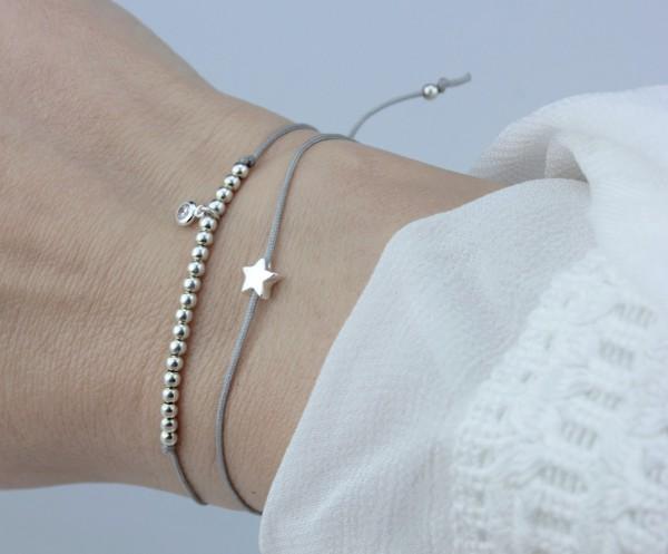 Damen Symbol Armband Set Stern/Zirkonia Silber-Grau, 925 Silber