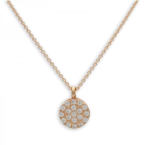 Filigrane Halskette mit Anhänger Zirkonia Kreis 925 Silber rosevergoldet 19 Zirkoniasteine