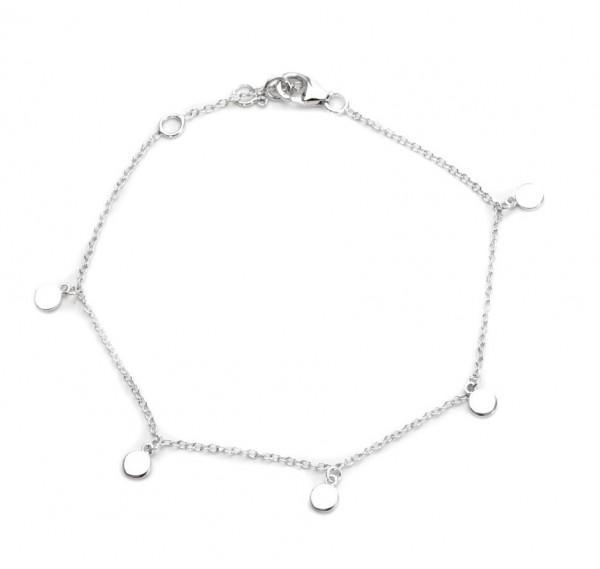 Armband mit kleinem Plättchen, 925 Silber rhodiniert