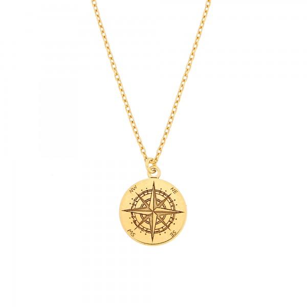 Halskette Kompass Anhänger 925 Silber vergoldet mini ø 12 mm / Kette Windrose Himmelsrichtungen