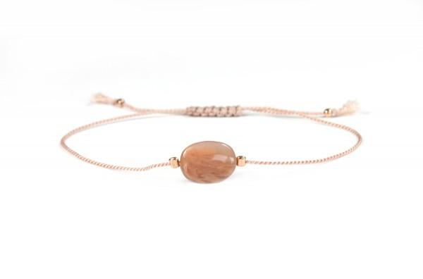 Zartes Seide-Armband Mondstein 925 Silber Beige-Orange | Textilarmband