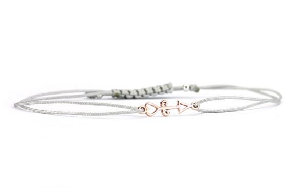 Damen Textil-Armband Pfeil 925 Silber rosevergoldet | Hellgrau-Rosegold | Glücksbringer