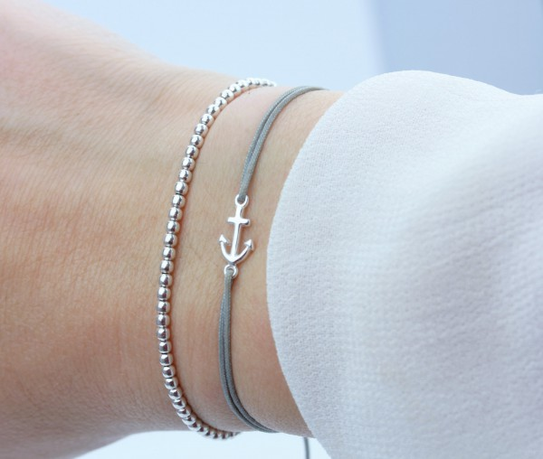 Armband Anker Kugelarmband Set Silber-Grau 925 Silber | Freundschaftsarmband Schmuck