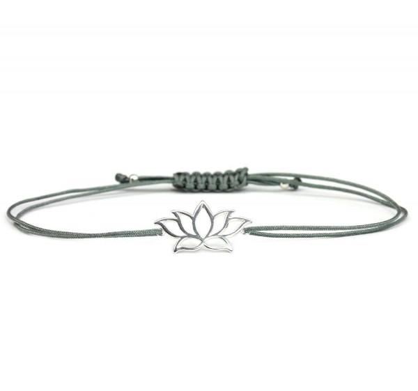 Armband Lotusblume 925 Silber Dunkelgrau - Silber | Lotosblüte Lotus Seerose