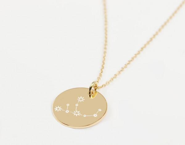 Sternzeichen Gravurkette Jungfrau 925 Silber vergoldet