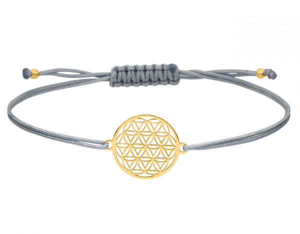 Blume des Lebens Armband 925 Silber vergoldet Hellgrau-Gold | Lebensblume Schmuck
