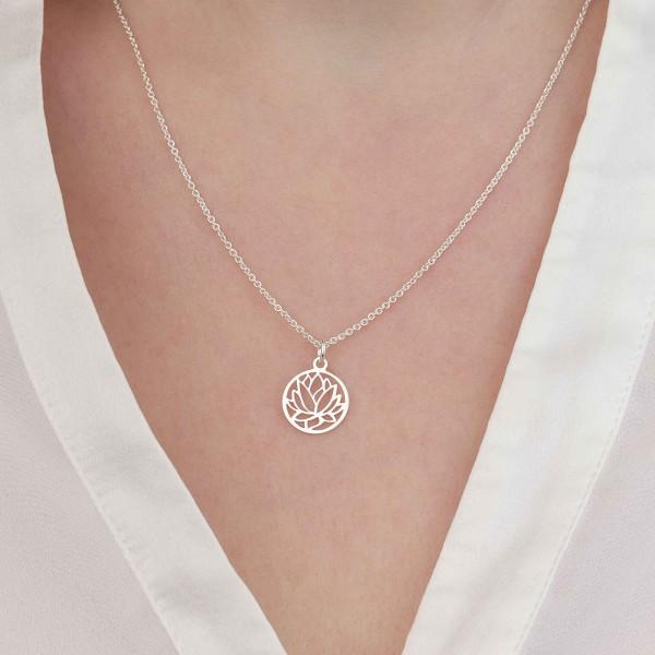 Halskette Lotus Lotusblume 925 Silber ø 12 mm | Lotosblüte Seerose Schmuck