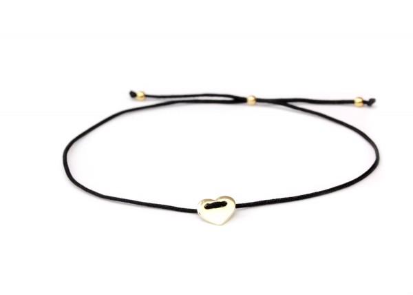 Freundschaftsarmband Herz-Symbol in Schwarz-Gold, 925 Silber