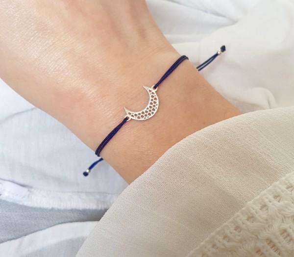 Armband Halbmond Sichel 925 Silber - Dunkelblau | Freundschaftsarmband Mondsichel-Symbol Schmuck