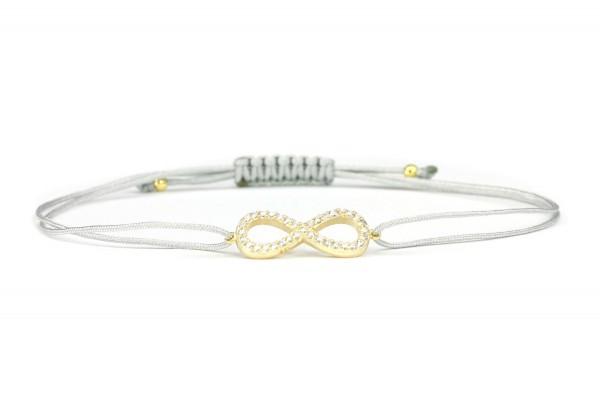 Unendlichkeit Armband 925 Silber vergoldet Zirkonia Hellgrau Individualisierbar | Schmuck Infinity