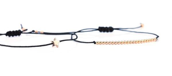 Armband Set Stern/Kugeln Schwarz-Rosegold 925 Silber | Freundschaftsarmband Silberperlen