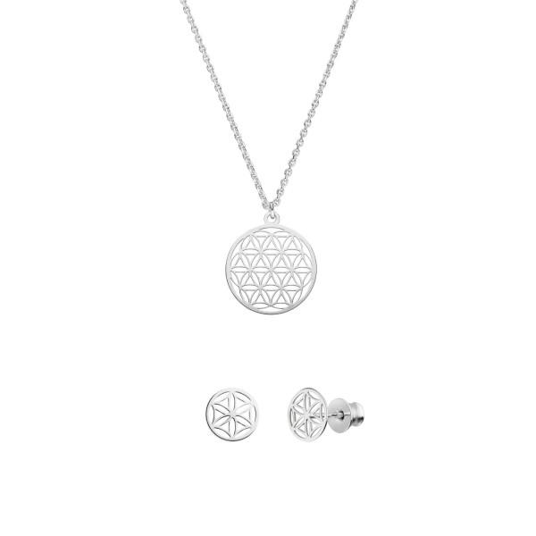 Schmuckset Blume des Lebens Halskette Ohrstecker 925 Silber | Lebensblume Schmuck Set
