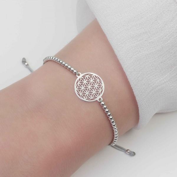 Lebensblume Armband Silber-Hellgrau 925 Silber | Kugelarmband Blume des Lebens Schmuck Geschenk