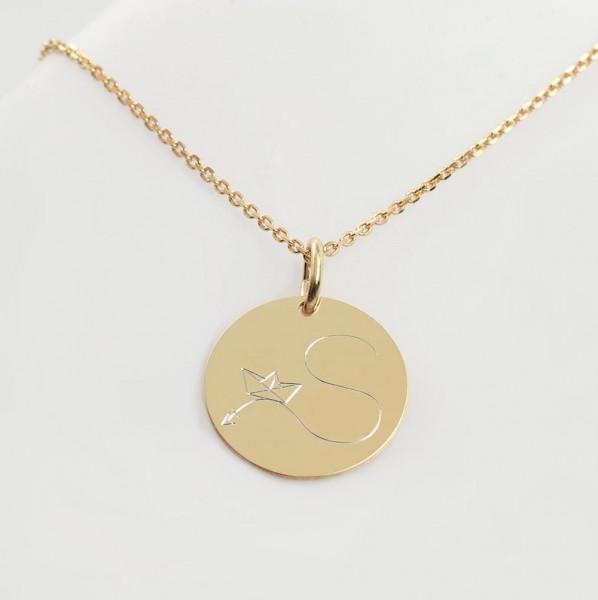 Gravurplättchen Halskette Buchstabe-Papierboot- 925 Silber vergoldet