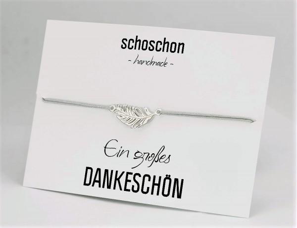 Armband Feder 925 Silber Silber-Hellgrau | 20 Farben personalisierbar