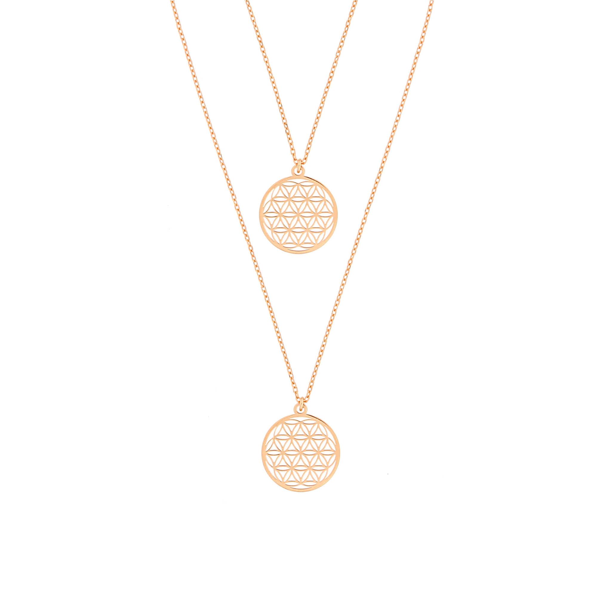 Mutter Tochter Lebensblume Halsketten Set 925 Silber vergoldet ø 15 mm | Schmuck Blume des Lebens Ke
