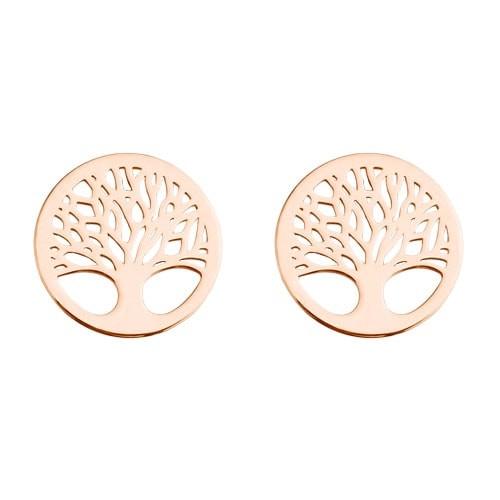 Lebensbaum Ohrstecker 925 Silber rosevergoldet | Baum des Lebens Ohrringe
