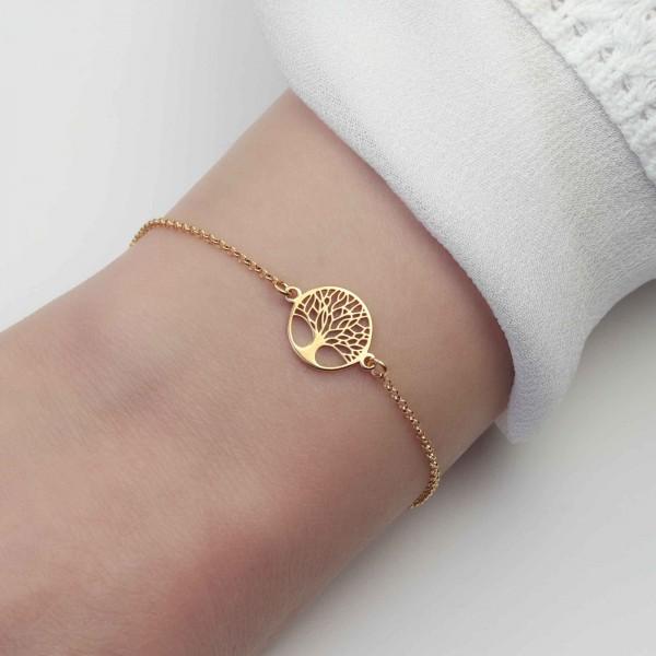 Armband Baum des Lebens 925 Silber vergoldet | Lebensbaum Armkette Schmuck