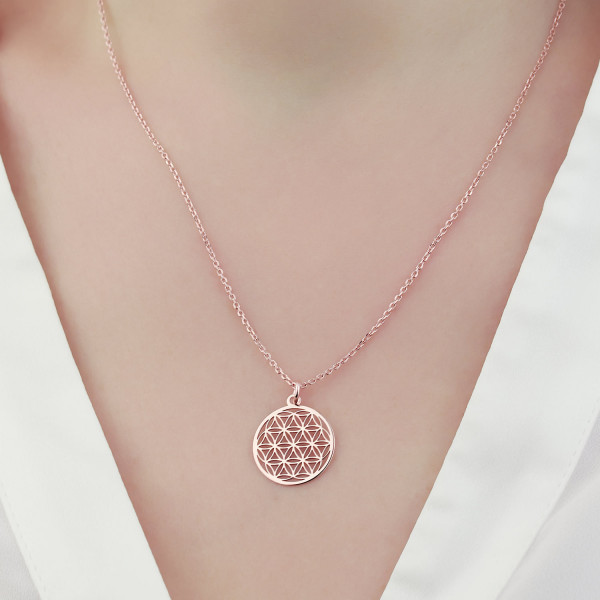 Halskette mit Blume des Lebens Anhänger 925 Silber rosevergoldet ø 15 mm   Kette Lebensblume