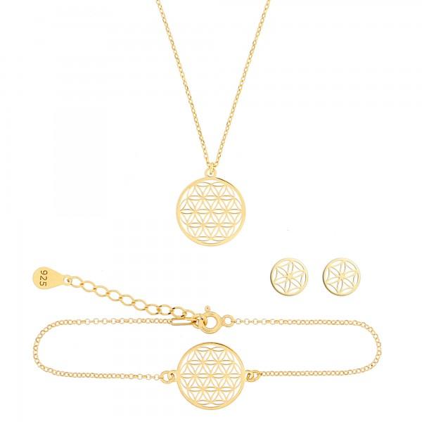 Schmuckset Blume des Lebens Halskette Armband Ohrstecker 925 Silber vergoldet | Set Lebensblume