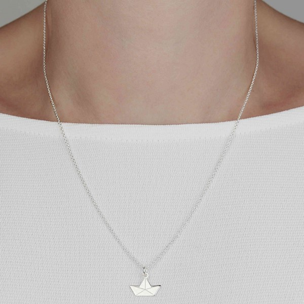 Halskette Papierboot Silber | Kette Boot Papierschiff Origami Schmuck