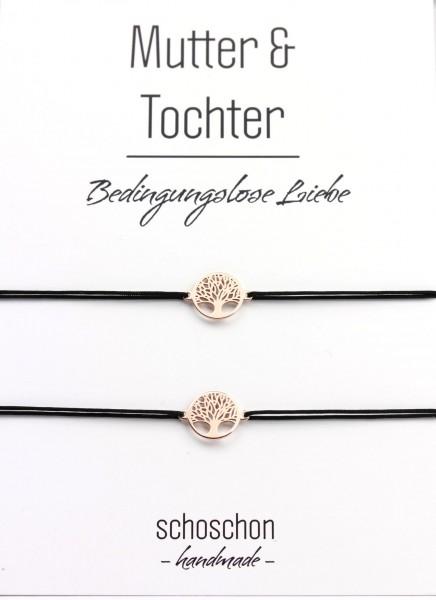 Mutter Tochter Lebensbaum Mini Armband Set 925 Silber rosevergoldet |Schwarz-Rosegold | Schmuck Baum