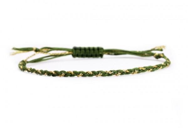 Handgeflochtenes Textilarmband, Grün-Gold