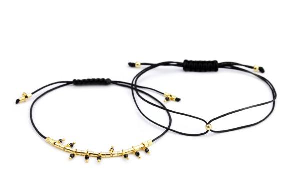 Armband Set mit Spinell und Silberperle 925 Silber vergoldet Schwarz-Gold