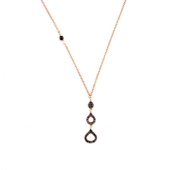 Halskette Tropfen-Anhäger 925 Silber rosevergoldet Zirkonia