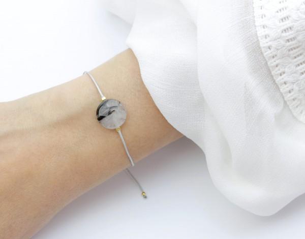 Textilarmband Turmalin-Quarz Grau-Gold Naturstein