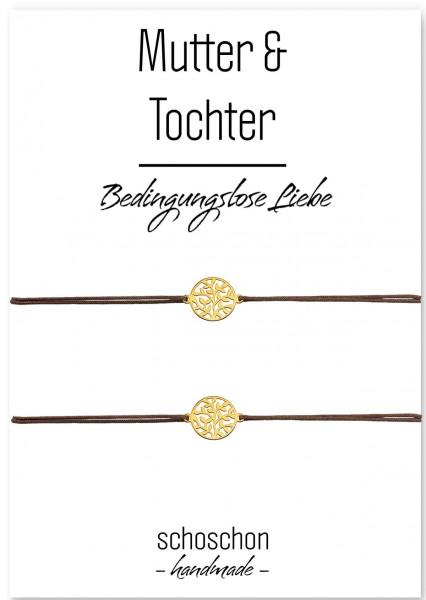 Mutter Tochter Baum des Lebens Lebensbaum Armband Set 925 Silber vergoldet Braun-Gold